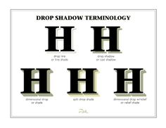 Drop Shadow Terminology, a few terms relating to drop shadow treatments, by Don… Signwriting, Drop Shadow, Love Letters, Letterpress, Typography Design, Hand Lettering, Fonts, It Cast, Graphic Design