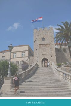Don't mind me. Posing in front of the entrance to the old city in Korcula, Croatia.