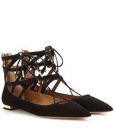 981f9672167ab8 Aquazzura Belgravia Flat Suede Ballerinas Black Suede Shoes