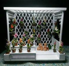 Pergola Greenhouse Teak Wood Decor Fairy Garden Handcrafted Dollhouse Miniature