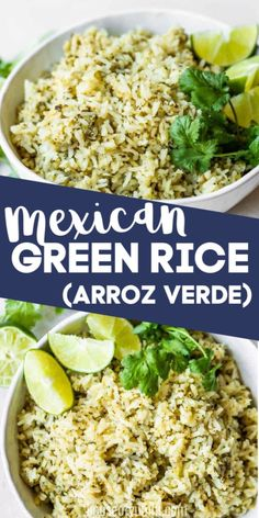 Take your cilantro lime rice up a notch and make this Arroz Verde! Full of flavor thanks to roasted poblano peppers, onion, garlic, and of course lots of cilantro and fresh lime juice. Carnitas, Barbacoa, Side Dishes Easy, Side Dish Recipes, Dinner Recipes, Dinner Ideas, Mexican Rice Recipes, Mexican Dishes, Carne Asada