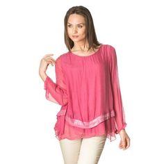 Fuchsia asymmetric silk blouse