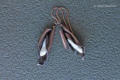Copper Earrings with biwa pearls Flower   wire by DorasAccessory