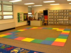 Such a good idea! Make mats into a square shape so forming a 'circle' for morning meeting goes much smoother. No fighting, squishing etc. Everyone gets a designated space. Try this around my existing carpet, maybe? Classroom Organisation, Classroom Setup, School Organization, Classroom Setting, Music Classroom, Classroom Management, Organizing, Teachers Aide, Elementary Music