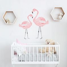 These two graceful flamingos fit perfectly into the rooms of little princesses. The elegant birds with long necks delicately complement girl's interiors decorat Name Wall Decor, Nursery Wall Decor, Style Tropical, Flamingo Nursery, Dining Room Wall Decor, Most Beautiful Wallpaper, Acrylic Sheets, Wallpaper Online, Flower Wall