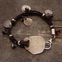 Raw black bracelet  Sterling silver with black spinel by ewalompe