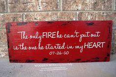 Firefighter Wife - Custom Wood Sign - 18x8 (WxH) - Fireman, Wife, Fire, Marriage, Love