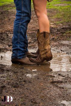 Rainy, muddy engagement shoot