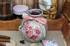 Купить Вазочка шебби - ваза, ваза декоративная, ваза для цветов, ваза для сухоцветов, ваза декупаж