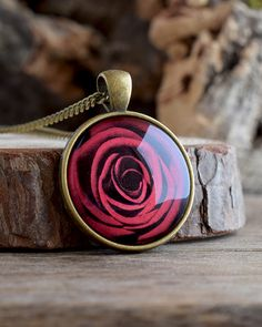 Red rose pendant necklace, Valentines day gift, Red flower necklace, Rose necklace, Flower picture necklace, Floral gift Red necklace