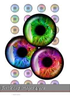Multicolored Eyes - Digital Collage Sheet - 1 inch - Bottle Cap Images for badges, paper craft, buttons, hairbow