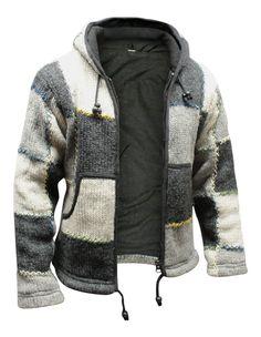 63945fdcfd65 Mens Natural Wool Hippie Hoodie Fleece Lined Grey Bohemian Festival Hippy  Jacket