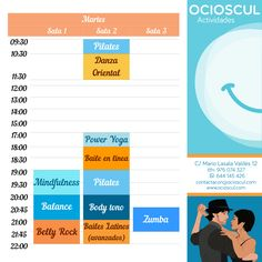 #Martes: #DanzaOriental #PowerYoga #BaileEnLinea #Mindfulness #Pilates #Balance #BodyTono #Zumba #BailesLatinos mas info en ocioscul.com
