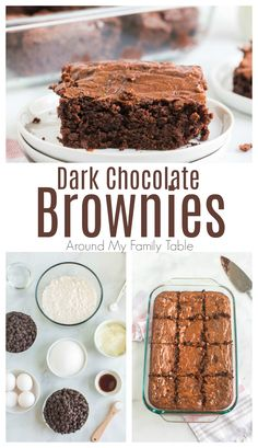 Dark chocolate brownies made with coconut oil are rich, fudgy, and have health benefits! Make this healthier brownie recipe for an easy dessert. via @slingmama Easy Desserts, Delicious Desserts, Dessert Recipes, Yummy Food, Dark Chocolate Brownies, Decadent Chocolate, Cheesecake, Brownie Recipes, Love Food