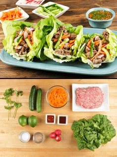 Pork Banh Mi Lettuce Wraps with Cucumbers and Carrots with nuoc cham dipping sauce Pork Lettuce Wraps, Lettuce Wrap Recipes, Lettuce Cups, Vietnamese Bowl Recipe, Vietnamese Food, Vietnamese Recipes, Asian Recipes, Healthy Recipes, Ethnic Recipes
