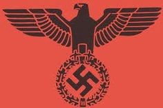 "During Nazi rule, a stylised eagle combined with the Nazi swastika was made the national emblem (Hoheitszeichen) by order of Adolf Hitler in 1935. The Nazi Party had used a very similar symbol for itself, called the Parteiadler (""Party's eagle""). These two insignia can be distinguished as the Reichsadler looks to its right shoulder whereas the Parteiadler looks to its left shoulder. Reichsadler (1935-1945) of Nazi Germany."