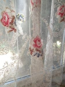 Stunning-ANTIQUE-FRENCH-ROSES-LACE-Net-Curtain-PAIR-c1880-RARE-Victorian-Find  Vintageblessings