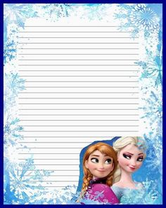 """""""Princesses"""": """"Elsa & Anna"""" from """"Frozen"""", as courtesy of Walt Disney Printable Lined Paper, Free Printable Stationery, Disney Scrapbook, Scrapbook Paper, Disney Frames, Borders For Paper, Frame Clipart, Stationery Paper, Writing Paper"""