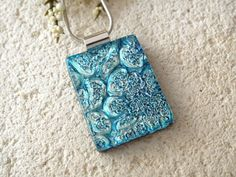 Large Silver Blue & Icy Aqua Necklace  Dichroic  by ccvalenzo, $24.00