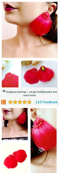 http://etsy.me/2o1ifXY bohemian earrings,  red feather earrings, fashion jewelry