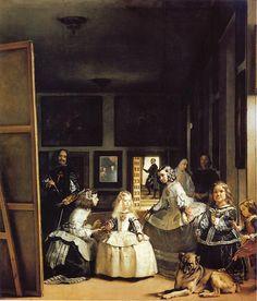Las Meninas - Diego Rodríguez de Silva y Velázquez  Diego Rodríguez de Silva y Velázquez Spanish painter who was the leading artist in the court of King Philip IV.  #painting #Espeña #Spain