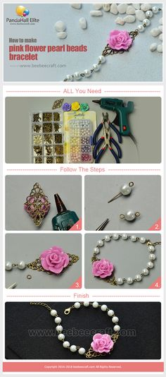 #Beebeecraft #tutorials on how to make #flower #bracelet with colorful glass #pearlbeads