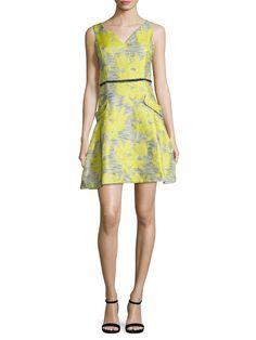 Donna Ricco Floral Applique Flared Dress