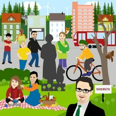 Vihreiden ihannekunta kuntavaalit - illustration @ Stina Tuominen