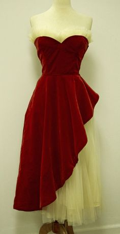 1950's Strapless Cascade Fishtail Vintage Party Dress