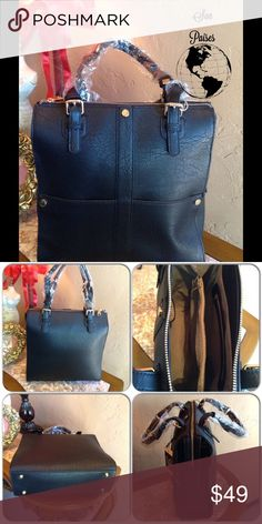 Tall Black Satchel This awesome tall bag features gold tone hardware, metal feet for protection, fully lined with two interior zipper pockets, two slip pockets. Includes dust bag. 8 inch handles. Top zipper closure. (This closet does not trade or use PayPal ) Son Paises Bags Satchels