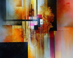 Large, Canvas, Abstract Oil painting by artist Simon Kenny 'Segments'