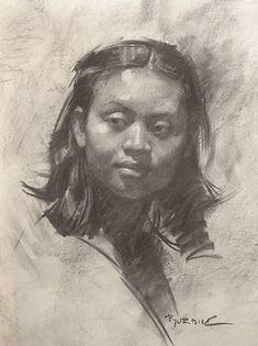 """Cindy"" by Scott Burdick (b. 1967), female face portrait charcoal drawing."