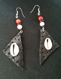 Black Leather Earrings w/Cowrie Shell. $25.00, via Etsy.
