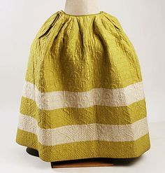 Petticoat silk - Mid 18th century - CB 38 1/4 inches   MET 1977.197.2  I love the strips