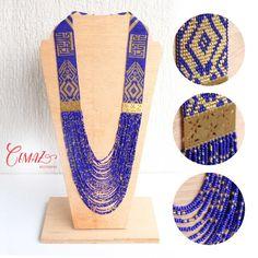 Items similar to Collar tejido en telar, mostacillas en rojo y dorado con placa // Beadwork necklace on loom, red and gold beads on Etsy