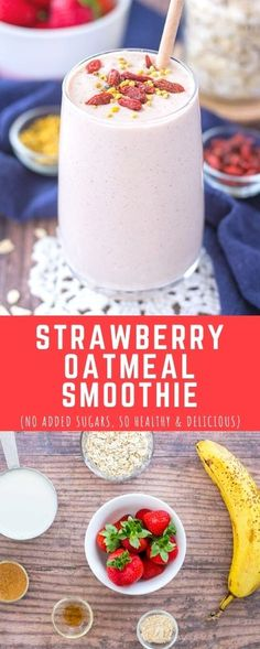 Sweet, creamy, and loaded with fruity freshness, this Strawberry Oatmeal Smoothie is such a treat. It's extra delicious and quite filling.   So HEALTHY too. It's filled with OATS and made without any added sugars. -------- #noaddedsugars #healthy #smoothie #recipe #strawberry #oats #oatmeal #vegan #kidfriendly #easy #dairyfree #weightlosssmoothie #lowcalorie #superfoods #summer #breakfast