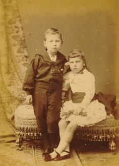 """Children Princess Victoria Melita """"Ducky"""" (1876-1936) UK & her brother Prince Alfred """"Affie"""" (1874-1899) UK by unknown artist. Children of Price Alfred (1844-1900) UK & Maria Alexandrovna Romanova (1853-1920) Russia. Affie's death at age 24 is not known: Some say he had consumption. """"The Complete Peerage"""" gives the usually accepted account that he shot himself. Severe symptoms of the syphilis are cited as the likely cause of his suicide."""