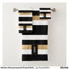 Modern Monogrammed Striped Bath Towel Set - tap, personalize, buy right now! Black And Gold Bathroom, White Bathroom, Small Bathroom, Bathroom Ideas, Decorative Bathroom Towels, Black Bathroom Decor, Bathroom Towel Decor, Cream Bathroom, Bathrooms Decor