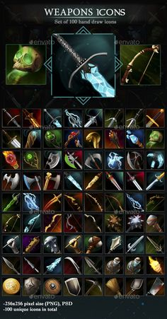 A set of 100 hand-drawn weapons icons. All icons are of high quality. A good choice for any modern games.All icons have a transparent background, so you can place it on any surface you need. - Each icon is pixels size (PNG); - 100 unique icons in Game Ui Design, Icon Design, Game Assets, Digital Texture, Game Props, Weapon Concept Art, E Mc2, Game Icon, Fantasy Weapons