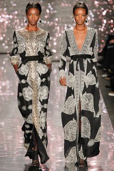 Love these sheer fabric caftans with the fabulous silver embroidery from naeem khan