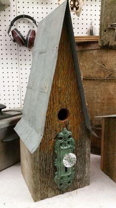 Tall barn wood bird house with crystal door nob