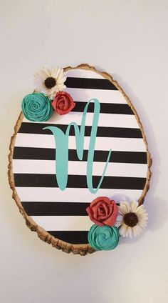 Wood slab monogram. Wood flower wall decor.