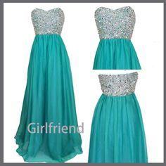 Sweetheart Long Chiffon Prom Dresses / Homecoming Dress from Girlfriend