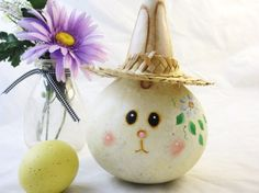 Easter bunny rabbit gourd decoration handpainted by KaoriKreations, $19.00