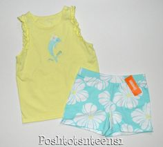 Gymboree Hop N Roll Set Dolphin Tank Top Floral Shorts 12 10 EUC+ te1