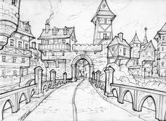 Fantasy Medieval Town Drawing