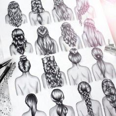 Kristina webb's latest drawing of different hairstyles! See more on her instagtram: _Colour_me_creative_