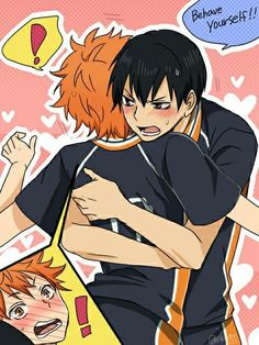 Hinata:*rages* kageyama:DUMBASS *runs over and hugs* stop raging. Behave yourself dumbass Hinata: e-ehh?! K-kageyama * hugs* fine I'll stop...