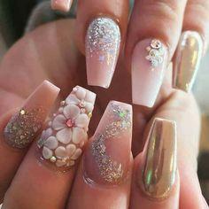 Cute art design nails with rhinestone 031 Stiletto Nail Art, Glitter Nail Art, Cute Acrylic Nails, Glam Nails, 3d Nails, Love Nails, Gorgeous Nails, Pretty Nails, Amazing Nails