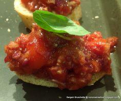 Bargain bruschetta - a mountain of topping!  Recipe here: http://nononsensefood.blogspot.co.uk/2013/07/bargain-bruschetta.html